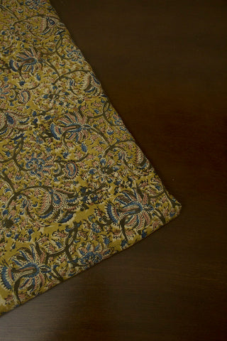 Olive Green with Indigo Floral Printed Kalamkari Cotton Fabric