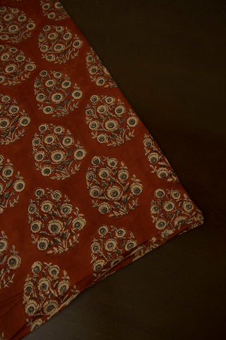 Rust Red with Grey Intricate Floral Hand Block Printed Cotton Fabric-0.95 m