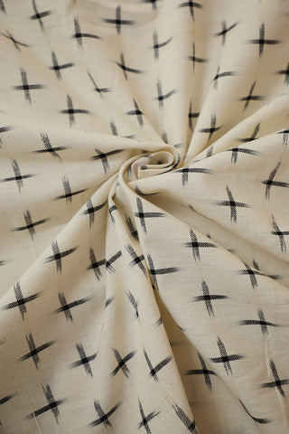 Off White with Black Handwoven Double Ikat Cotton Fabric