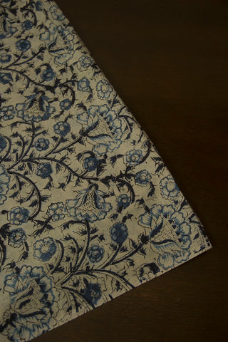 Off White with Indigo Floral Hand Block Printed Kalamkari Cotton Fabric