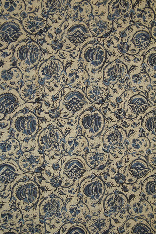 Indigo Floral Hand Block Printed Kalamkari Cotton Fabric
