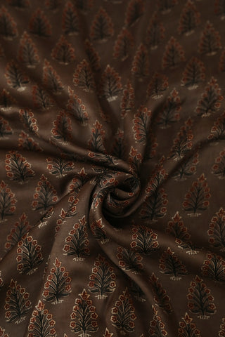 Brown with Maroon Modal Silk Fabric
