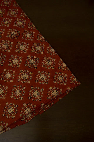 Maroon with Beige Hand Block Printed Cotton Fabric