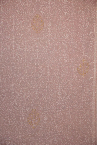 Light Pink with White Floral Hand Block Printed Cotton Fabric
