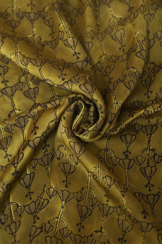 Yellowish Green Ajrak Modal Silk Fabric