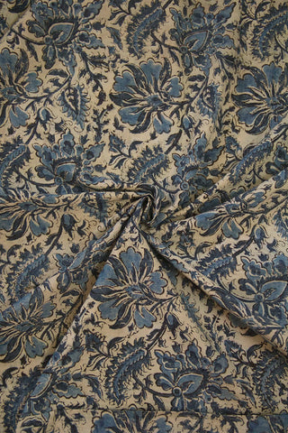 Off White with Indigo Leaf Floral Hand Block Printed Kalamkari Cotton Fabric