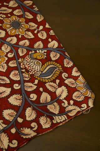 Red with Beige Leaf Floral Painted Kalamkari Cotton Fabric
