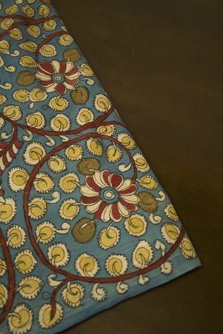 Sky Blue with Yellow Leaf Painted Kalamkari Cotton Fabric