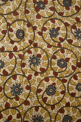 Off White with Blue and Maroon Floral Painted Kalamkari Cotton Fabric
