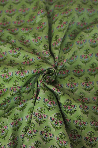 Light Green Floral Modal Silk Fabric- 0.7m