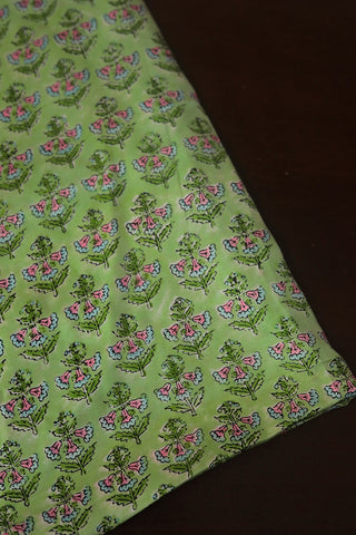 Light Green Floral Modal Silk Fabric