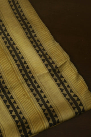 Yellow Brown Lines Modal Silk Fabric
