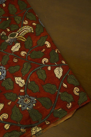 Maroon Floral Painted Kalamkari Cotton Fabric