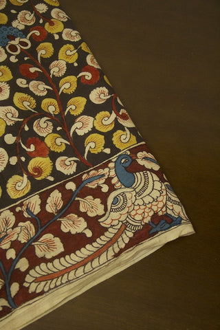 Maroon Peacock Border Painted Kalamkari Cotton Fabric