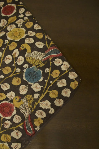 Yellow and Red Flowers Painted Kalamkari Cotton Fabric