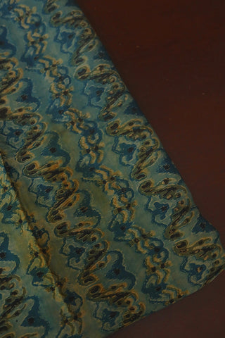 Indigo Green Waves Modal Silk Fabric