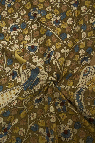 Colourful Peacock Garden Painted Kalamkari Cotton Fabric