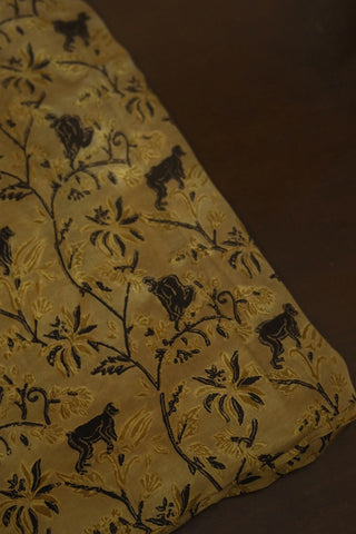 Beige with Black Modal Silk Fabric