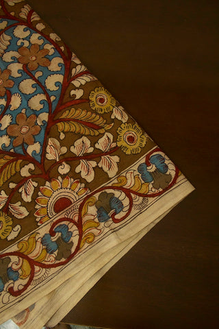 Yellow Flower Garden Painted Kalamkari Cotton Fabric