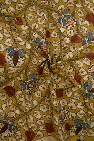 Mustard Yellow with Beige Floral Painted Kalamkari Cotton Fabric