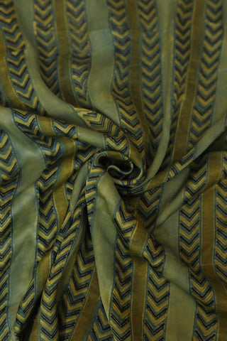 Shades of Green and Indigo Modal Silk Fabric