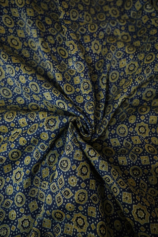 Circles and Stars in Indigo Blue Chanderi Silk Cotton Fabric-1 m