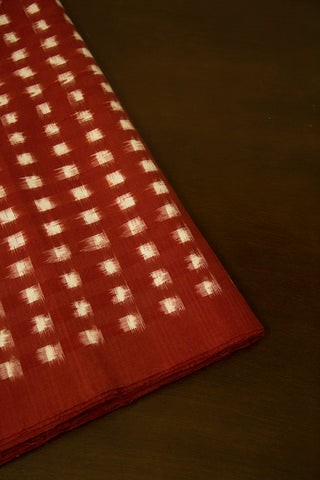 Maroon with White Squares Double Ikat Cotton Fabric