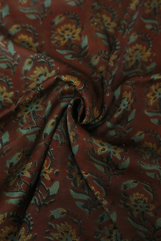 Subdued Maroon with green Modal Silk Fabric-0.9m