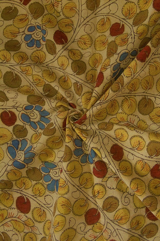 Yellow with Blue Flower Painted Kalamkari Cotton Fabric