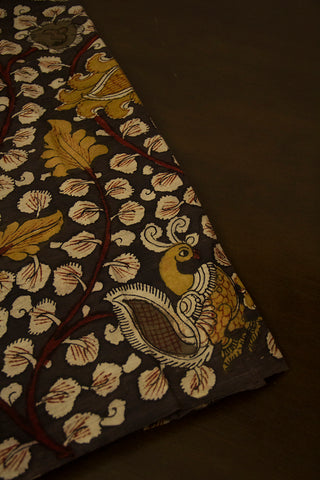 Dark Grey with Fenugreek Paisley Painted Kalamkari Cotton Fabric