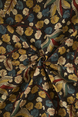 Black with Multi Colour Leaf Painted Kalamkari Cotton Fabric