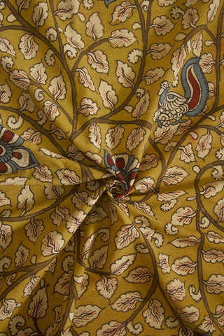 Fenugreek with Off White Floral Painted Kalamkari Cotton Fabric
