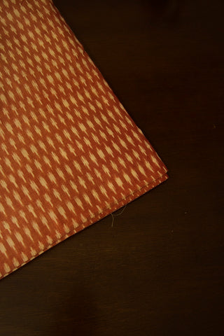 Brownish Peach Mercerized Cotton Ikat Fabric