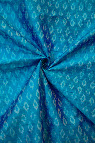 Shades of Blue Raw Silk Ikat Fabric