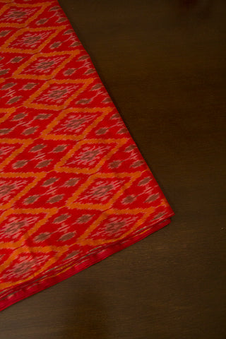 Red with Orange Ikat Silk Cotton Fabric