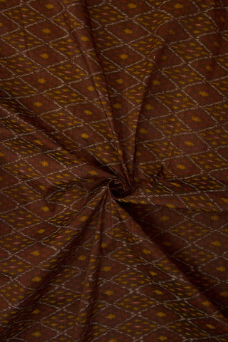 Dark Brown with Yellow Raw Silk Ikat Fabric