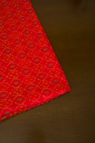 Bright Red Raw Silk Ikat Fabric
