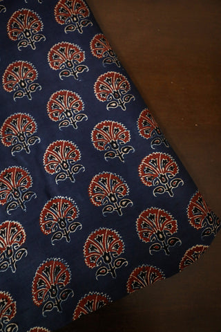Blue with Maroon Floral Chanderi Silk Cotton Fabric