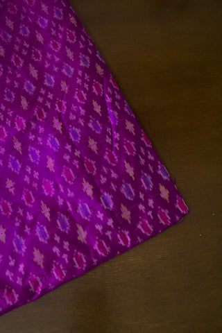 Dark Purple Raw Silk Ikat Fabric