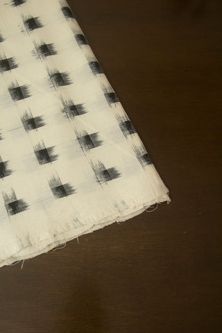 Black and Off White Chess Board Ikat Cotton Fabric