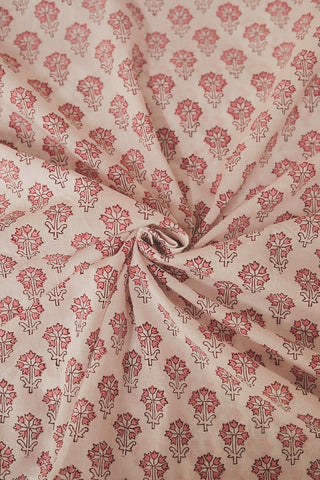 Small Flowers in Off White Sanganeri Cotton Fabric