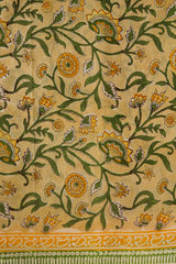 Yellow with Green Floral Sanganeri Cotton Fabric