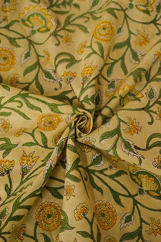 Yellow with Green Floral Sanganeri Cotton Fabric-1.2 m