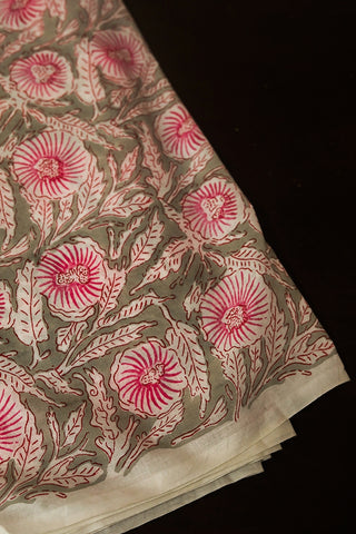 Grey with Off White and Pink Floral Sanganeri Cotton Fabric