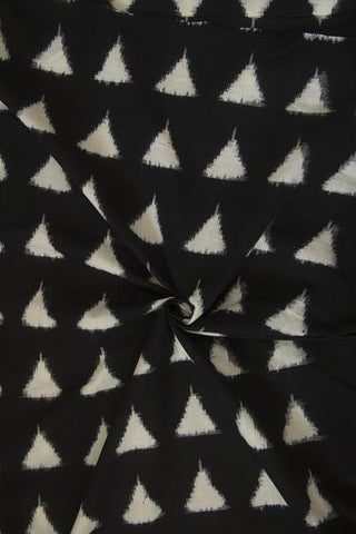 Black with Off White Triangle Double Ikat Cotton Fabric