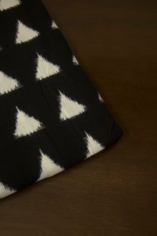 Black with White Triangles Double Ikat Cotton Fabric