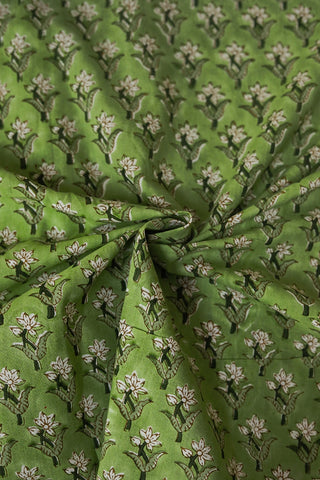 Light Green with Small Floral Sanganeri Cotton Fabric-0.9 m