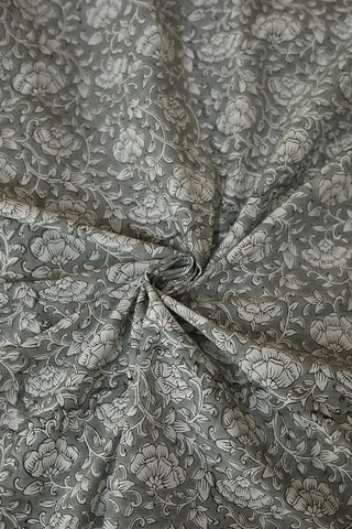 Grey with White Floral Block Printed Sanganeri Cotton Fabric