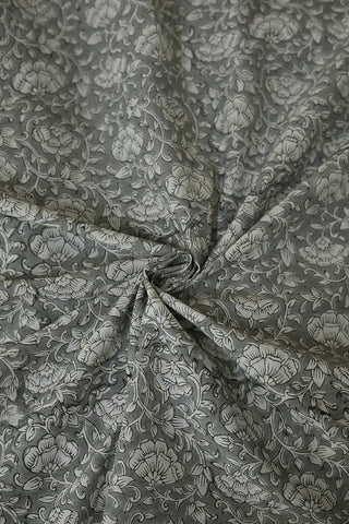 Cement Grey with White Floral Sanganeri Cotton Fabric-2.4 m