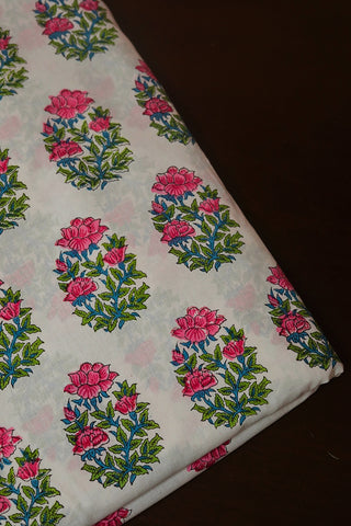 Off White with Pink Big Floral Sanganeri Cotton Fabric